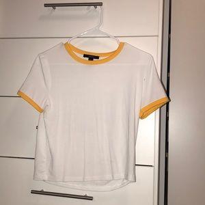 Basic white t shirt with yellow trim
